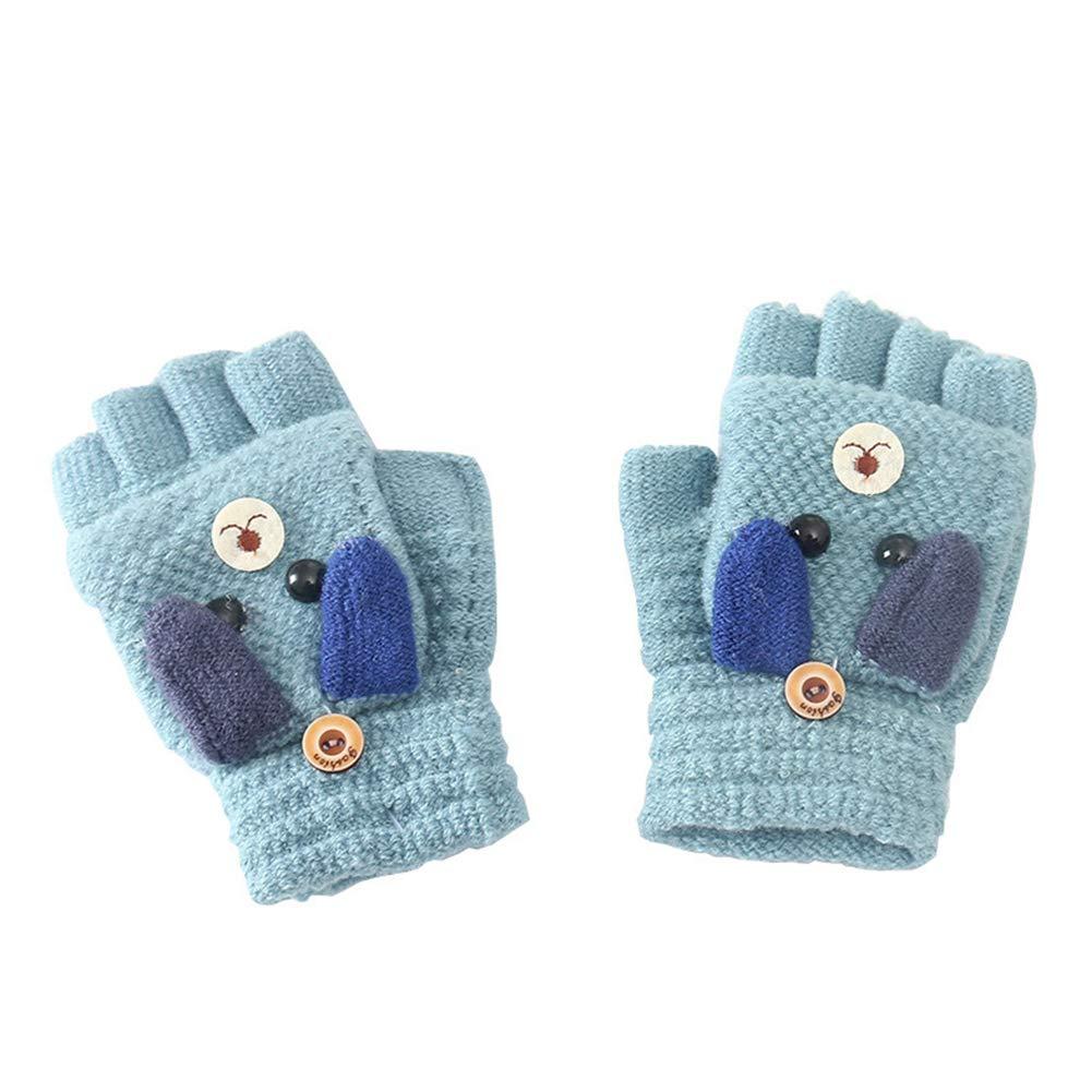 puran Thick Warm Gloves for Kids Boys Girls,Winter Warm Cartoon Dog Flip Top Knit Half Finger Gloves Mittens Blue