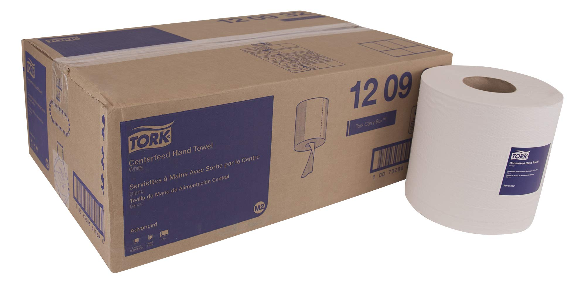 Tork Advanced 120932 Soft Centerfeed Hand Towel, 2-Ply, 7.6'' Width x 11.8'' Length, White (Case of 6 Rolls, 500 per Roll, 3,000 Towels) for use with Tork 559020A or 559028A