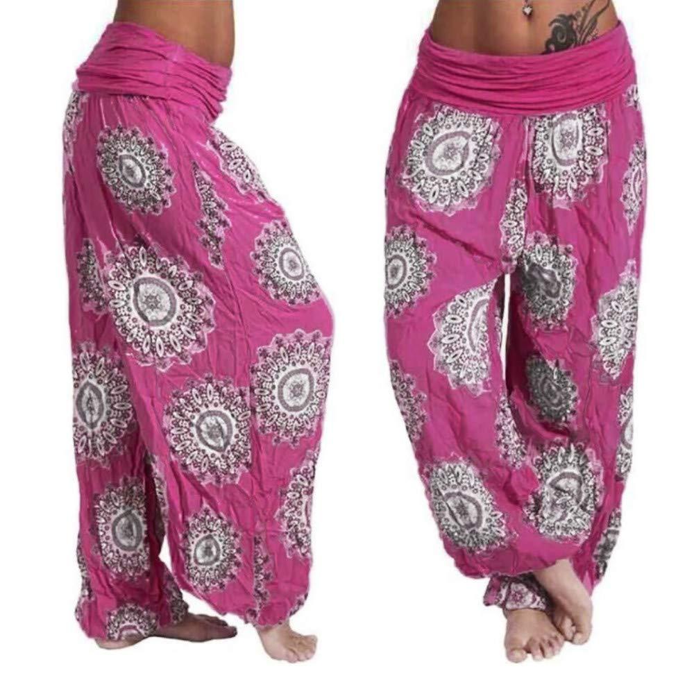 Pantalones de Cuerpo Entero Pantal/ón Ancho Leggings De Yoga Pantalones Hippie Boho Mujeres Desgaste Playa Fiesta Mono Pantalones Deportivos Cintura Alta Xinantime Pantalones har/én Mujeres