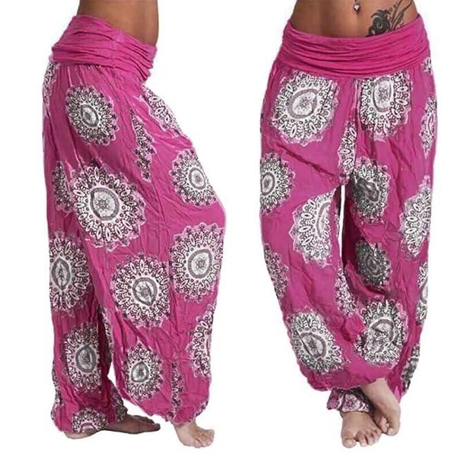 RISTHY Mujer Pantalones Bombacho Pantalones Anchos Mujer Palazzzo De HaréN De La India Danza Pantalones De Yoga Aladín Pantalones Hippie Boho Playa ...