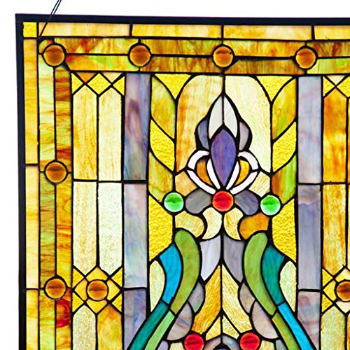 Fleur de Lis Stained Glass Panel: 24.75 Inch Decorative Tiffany Style Window Hanging - Large Framed Vertical Floral Hangings for the Wall or Windows with Blue, Purple, Green and Red Accents by River of Goods (Image #4)