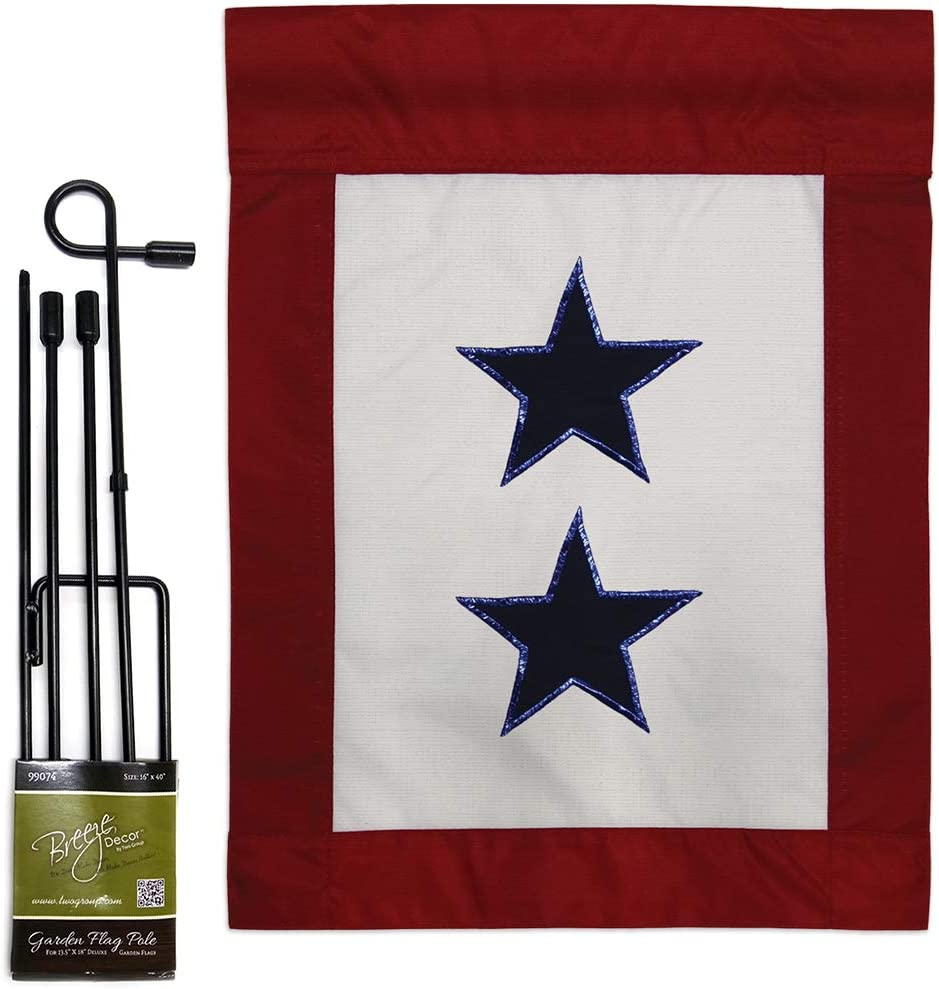 """Two Group GS108409-P2 Blue Star Service Americana Military Applique Decorative Vertical 13"""" x 18.5"""" Double Sided Garden Flag Set Metal Pole Hardware"""