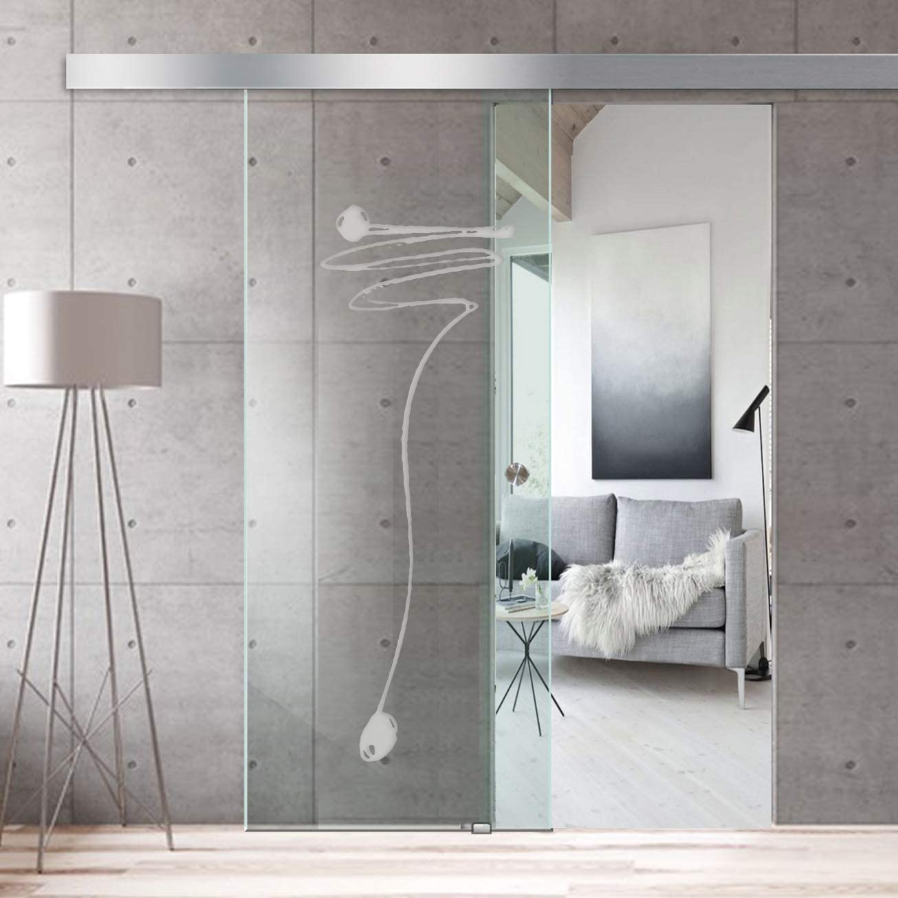 Modern Glass Art - Puerta de cristal deslizante para Boss de diseño interior - Cristal templado de seguridad de 8 mm de grosor, nano revestido, accesorios de acero inoxidable SS304, blanco