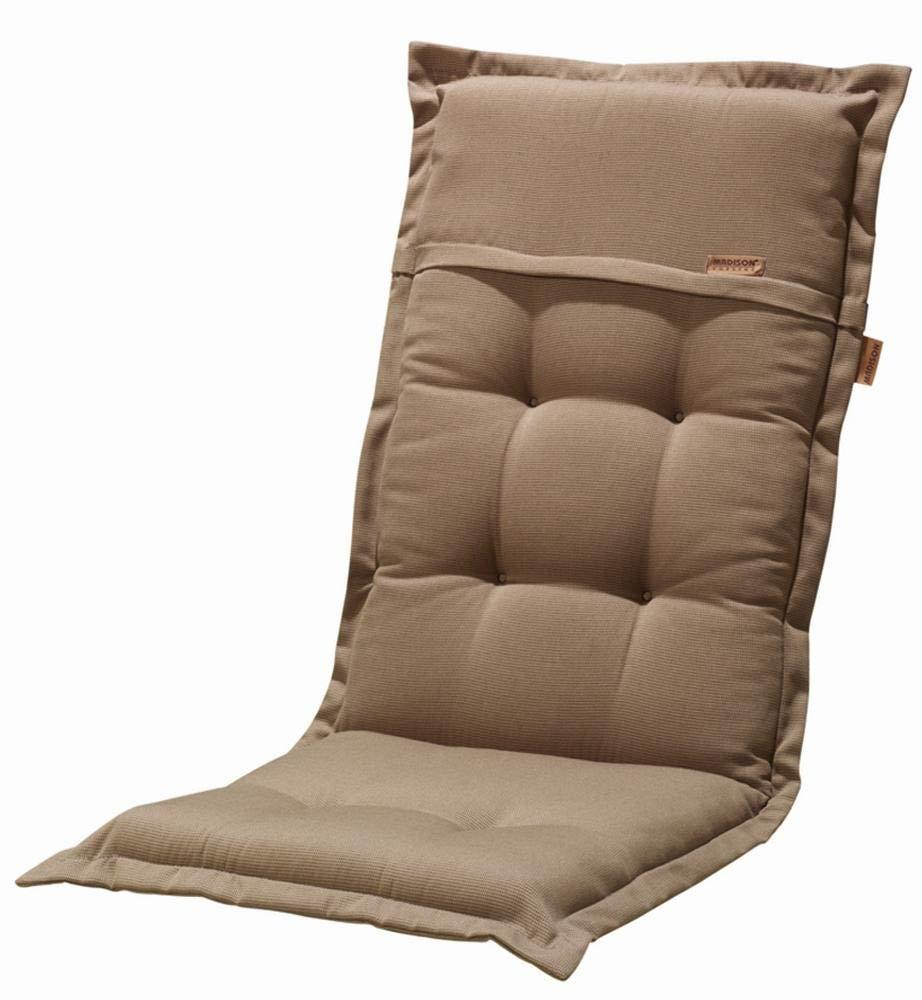 Madison 6 Stück Dessin Rib Hockerauflage, Hockerkissen, Sitzkissen, 100% Polyester, 50 x 50 x 8 cm, in braun