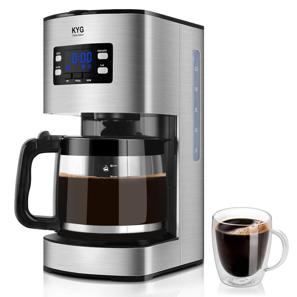 KYG Cafetera Goteo Máquina de Café con Temporizador Cafetera de Filtro Reutilizable y Función de Mantener