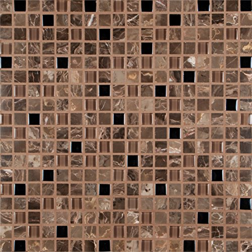 Mesh Mounted Glass Mosaics - MS International THDWG-SGL-EC-8MM Emperador Café Glass Stone Mesh-Mounted Mosaic Tile Brown 12 x 12 in. x 8 mm, (10 sq. ft./case)