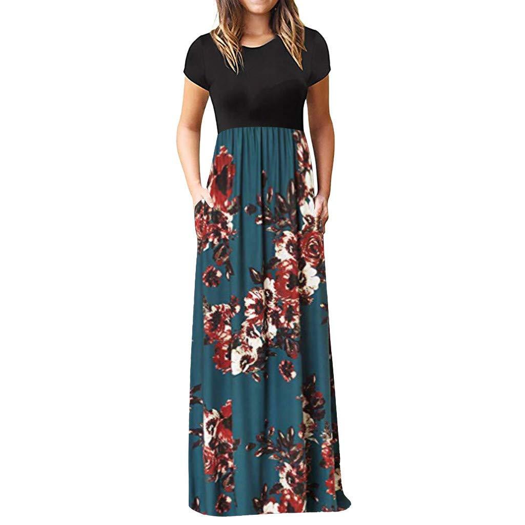 Women's Retro Bohemia Maxi Dresses Casual Short Sleeve O-Neck Summer Bohemia Printing Maxi Tank Long Loose Dresses (Blue, XXXL)