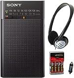 Sony ICFP26 Portable AM/FM Radio (Black) with Headphones and Accessory Bundle