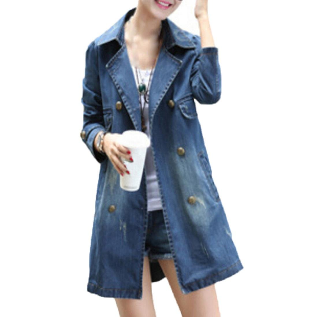 Fheaven Women's Coat Casual Long Sleeve Denim Jacket Doblue Bottun Long Jean Outwear Overcoat (XL, Blue)