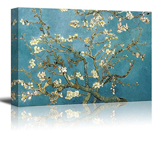 wall26 Canvas Print Wall Art - Almond Blossoms by Vincent Van Gogh Reproduction on Canvas Stretched Gallery Wrap. Ready to Hang -32