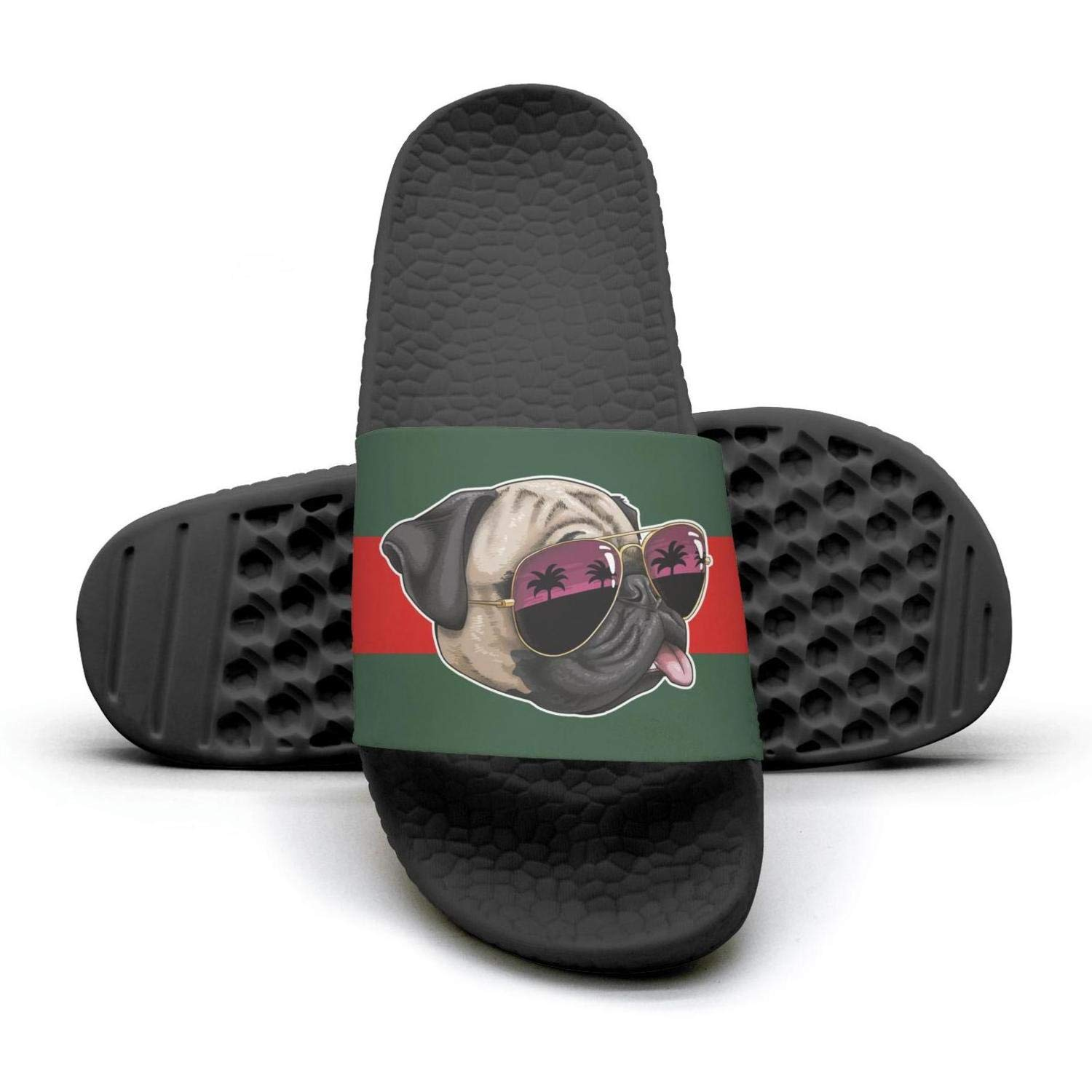 Woman pugs sunglasses palm puppies life red and green stripe flat Slipper Sandals lady Mules Slippers