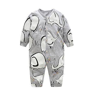 YanHoo Recién Nacido bebé Infantil Manga Larga Dibujos Animados Elefante Mono Mameluco Ropa Batas de Elefante de Dibujos Animados de algodón para bebés ...