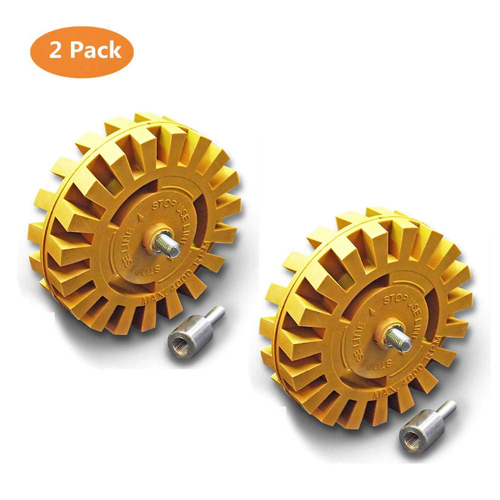 TUOTOO Wheel Car Decal Remover, 4 inch Rubber Power Drill Attachment for Removing Pinstripes, Stickers, Adhesive Vinyl Decals from Cars, Rvs, Boats and More (2 Pack)