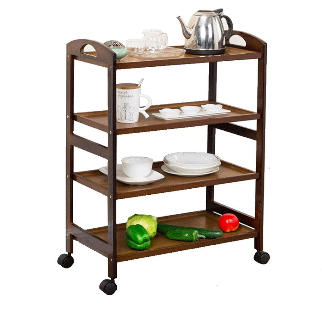 Dark brown 4 layers Shelf Trolley 3 4 Layers Solid Wooden Trolley Dining Shelf Trolley Household Tea cart Meal Sidecar Multi-Function Kitchen Trolley (color   Wood color, Size   3 Layers)