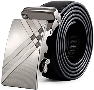 Cintura In Pelle Da Uomo Uomo Moda Business Taglie Comode Fibbia Automatica Cintura Cintura (Nero 125Cm) Abiti