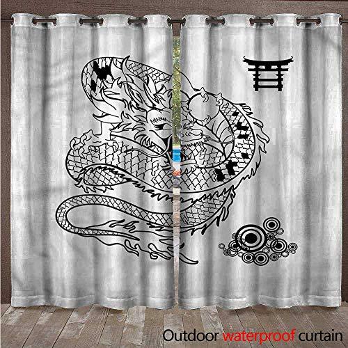 cobeDecor Japanese Dragon Outdoor Ultraviolet Protective Curtains Tattoo Art Reptile W84 x L96(214cm x 245cm)