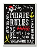 Stupell Home Décor Pirate Rules Rectangle Wall Plaque, 11 x 0.5 x 15, Proudly Made in USA