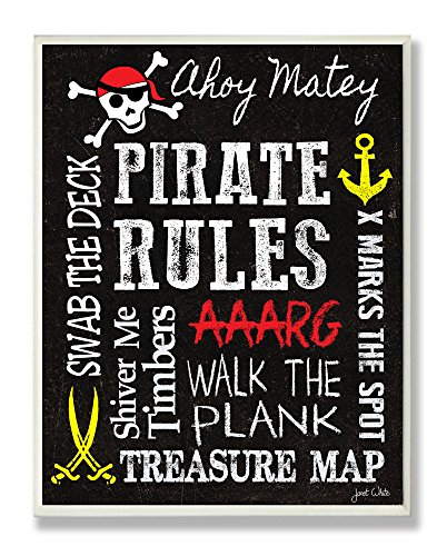 The Kids Room by Stupell Pirate Rules Rectangle Wall Plaque, 11 x 0.5 x 15, Proudly Made in USA