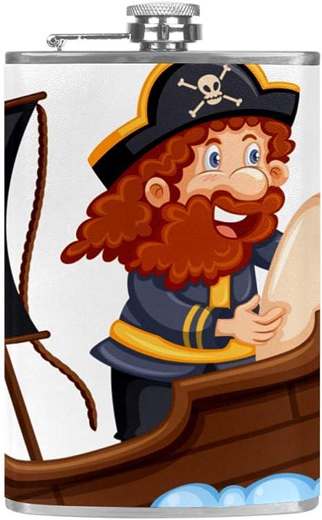 Barco Pirata De Dibujos Animados Frasco de la cadera 8 oz con ...