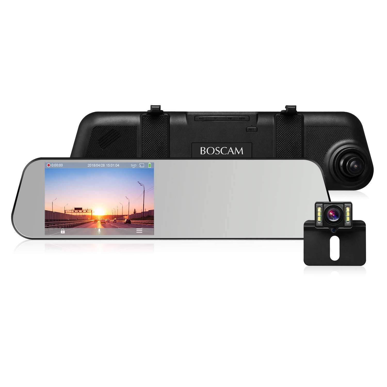 BOSCAM R1 Dashcam Rü ckspiegel Rü ckfahrkamera Full HD 1080P Dual Lens 4.5' (11.43CM) Touchscreen Autokamera Vorne und Hinten G-Sensor Loop-Aufnahme Bewegungserkennung IP68 Wasserdicht LED Nachtsicht