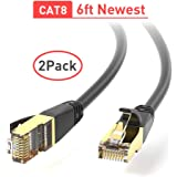 Ethernet Cable, RJ45 Cable, 26AWG Cat 8 6Feet (2 Pack) LAN, High Speed Network Cable with Gold Plated RJ45 Connector 40Gbps 2000Mhz S/FTP LAN Wires for Gaming, Xbox, Modem, Router