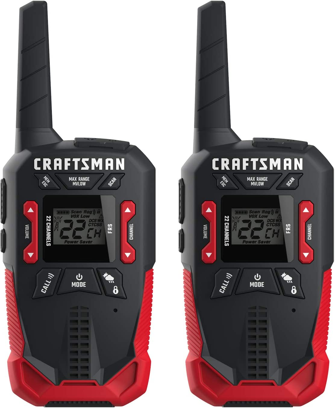 CRAFTSMAN 32-Mile Long Range Walkie Talkies for Adults - Weather Resistant, Rechargeable Two Way Radios with VOX - CMXZRAZF668 (2 Pack)