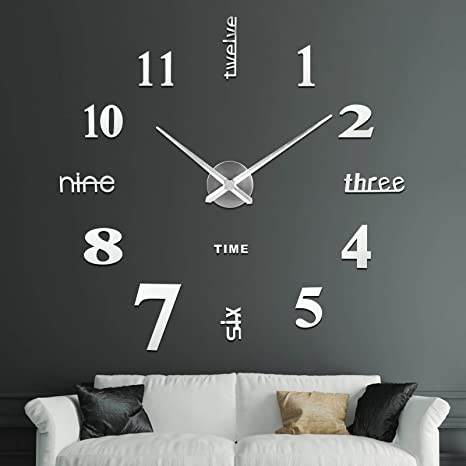 Amazon Com Soledi Large 3d Frameless Wall Clock Stickers Diy Wall Decoration For Living Room Bedroom Easy To Assemble Home Kitchen