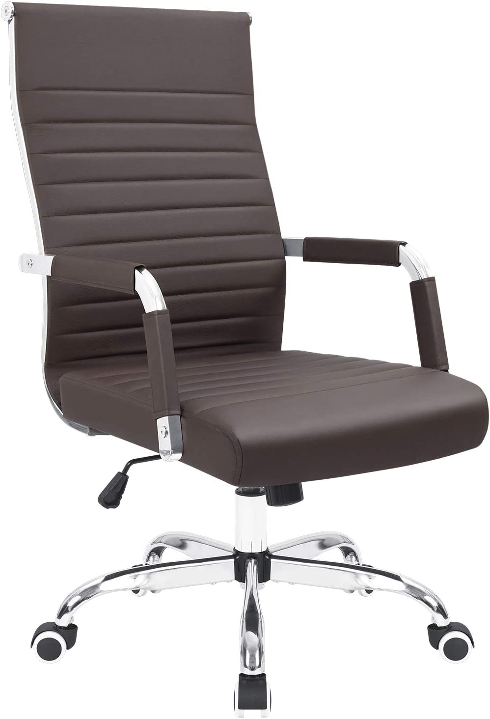 KaiMeng Ribbed Office Chair Mid Back Desk Chair Adjustable Swivel Task Chair Conference Executive Chair (Brown)