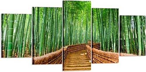 Kreative Arts XLarge 5 Piece Bamboo Path Canvas Prints Contemporary Art Modern Wall Decor Nature Pictures Giclee Canvas Artwork HD Photography