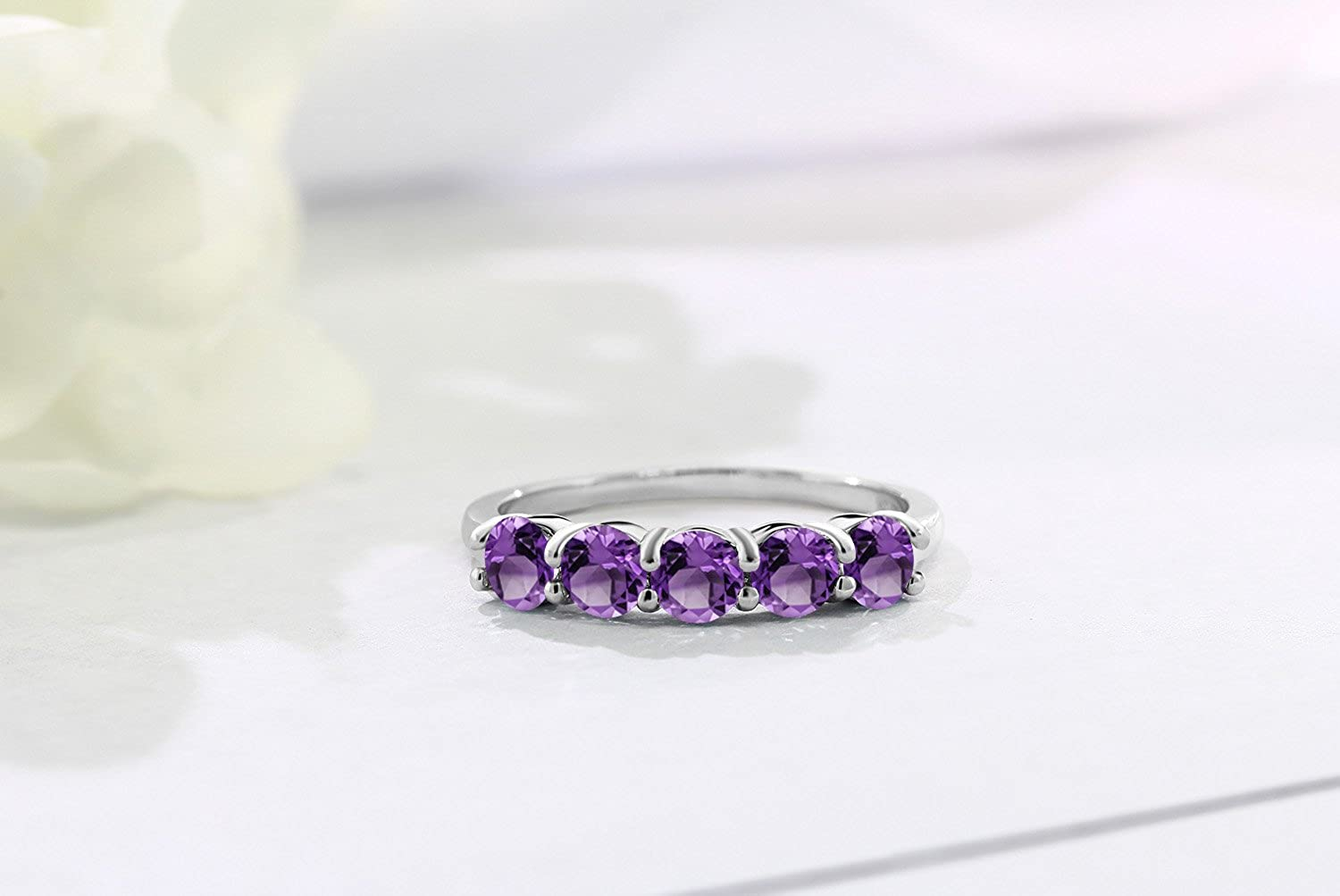 9 Grams Rings Band With Stone Gifts for Women Boho Hippie Jewelry Sale .925 Purple Amethyst Faceted Gemstone Ring Size 6 Sterling Silver
