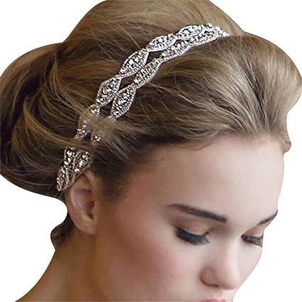 TININNA Elegante Nuziale Matrimonio Cristallo Strass Fascia per Capelli  Cerchietto Accessori per Capelli 9c6595dd9c21