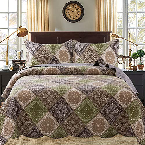 Travan Oversized Quilt Set with Shams All-Season Quilted Bedspread Coverlet, Secret Plaid, Queen (Thick Quilted Bedspreads)