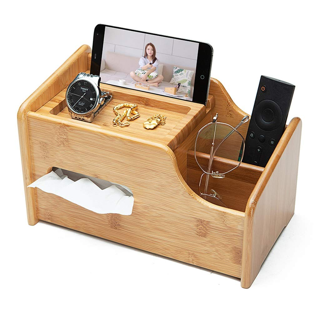 GWM Tissue Box Premium Bamboo Wood Office Desk Organizer - Tissue Box Holders with Smart Phone Holder, 2 Compartments to Organize Pens, Remote Control, Glasses and More!