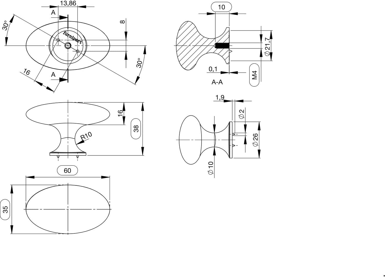 Zinkdruckguss Edelstahl Effekt H 35 mm M/öbelknopf Oval Simple B 60 mm