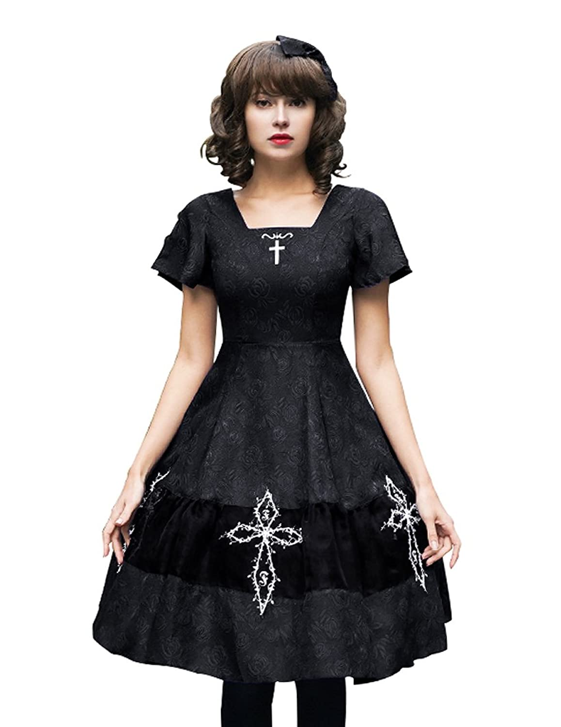 Exclusive Vintage Designer Fashion Gothic Square Neckline Jacquard Summer Dress/OP & Skorts & Hairbow