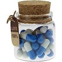 INFMETRY Capsule Letters Message in a Bottle Glass Favor Bottle (Dark Blue 25pcs)