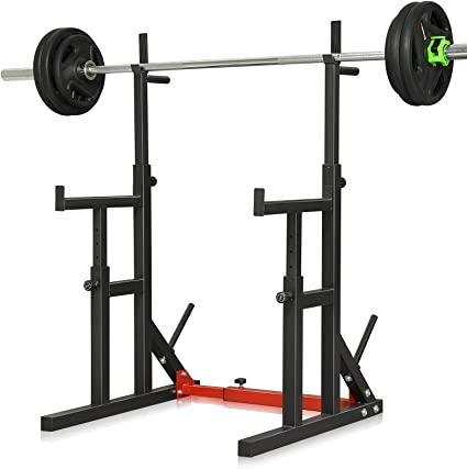 Adjustable Barbell Rack Squat Dip Stand Weight Lifting Bench Press Home Gym