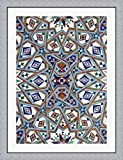 Morocco, Hassan II Mosque mosaic, Islamic tile detail by Kymri Wilt / Danita Delimont Framed Art Print Wall Picture, Flat Silver Frame, 32 x 42 inches