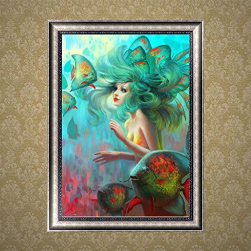 NNDA CO DIY 5D Mermaid Diamond Embroidery Painting Cross Crafts Stitch Home Wall Decor