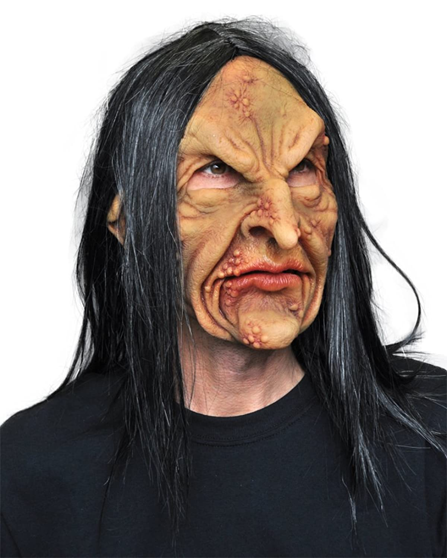 amazoncom deviant warlock zombie witch ugly horror latex adult halloween costume mask clothing