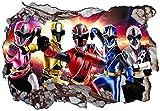 Power Rangers Ninja Steel V002 Wall Crack Wall Smash Wall Sticker Self Adhesive Poster Wall Art Size 1000mm wide x 600mm deep (large)