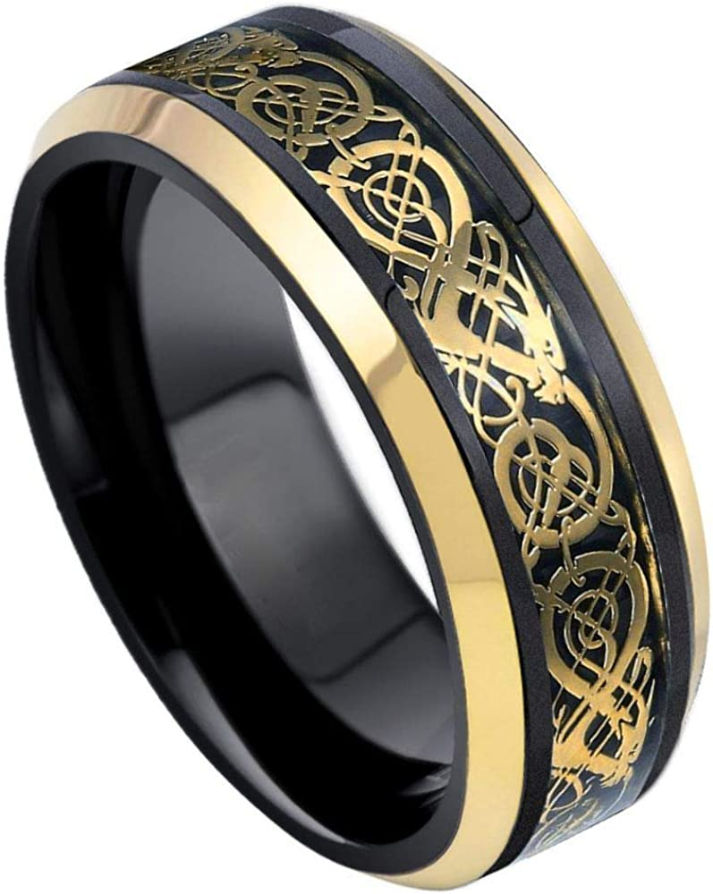 TosowebOnline Mens 8mm Polished Finish with Celtic Dragon Inlay Yellow Gold IP Beveled Edge Comfort Fit Tungsten Carbide Anniversary Ring