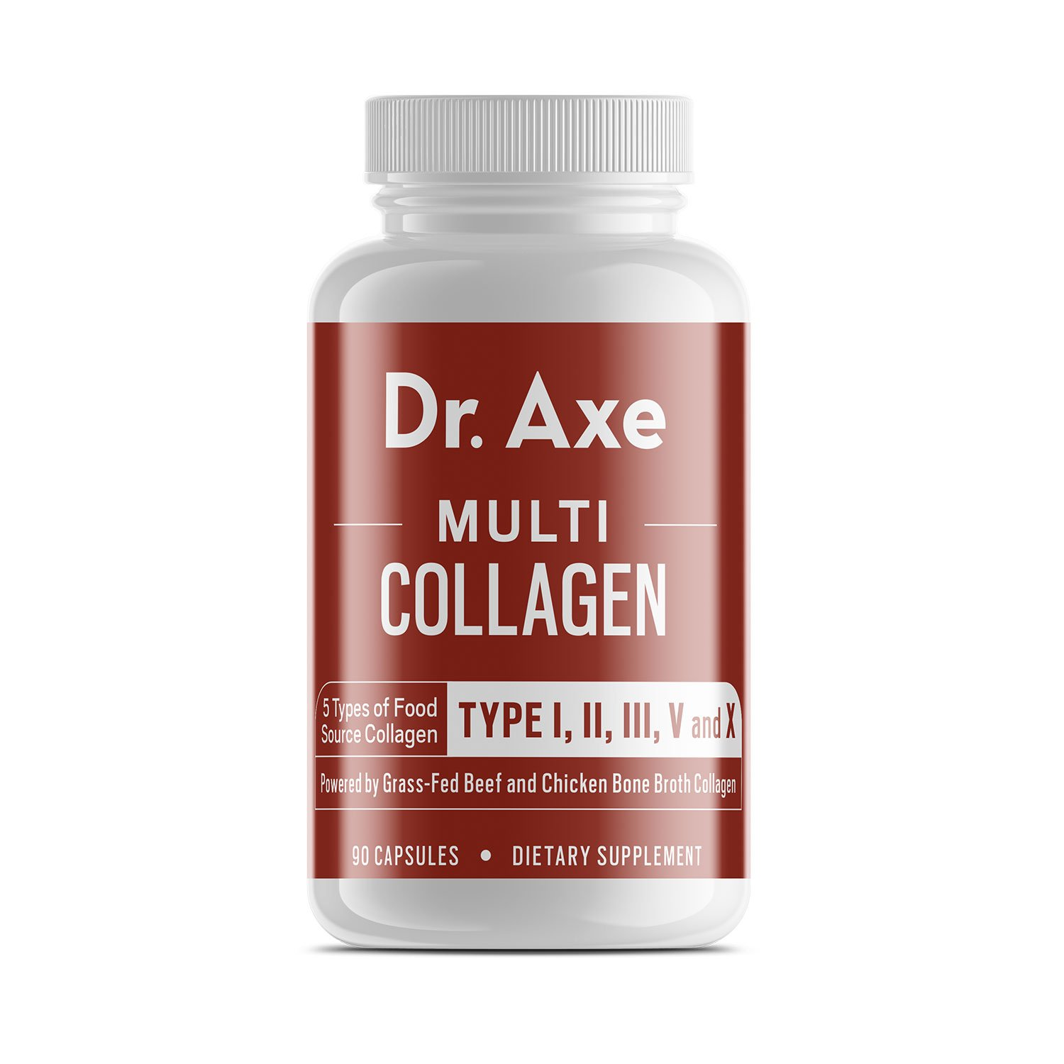 Dr. Axe Multi-Collagen Protein Capsules, 90 Count - High-Quality Blend of Grass-Fed Beef, Chicken, Wild Fish and Eggshell Collagen Peptides, Providing Type I, II, III, V and X - Formerly Dr. Collagen