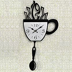 Bits and Pieces - Contemporary Kitchen Coffee Cup Clock - Novelty Wall Clock Features A Black Coffee Cup Design - Kitchen Décor, Unique Fun Gift