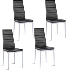 Giantex Set of 4 PU Leather Dining Side Chairs with Padded Seat Foot Cap Protection Stable  sc 1 st  Amazon.com & Kitchen u0026 Dining Room Chairs | Amazon.com