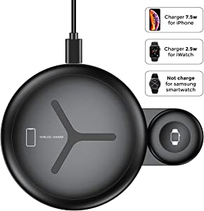 Qi Wireless Charging Pad | Sohnne 10W Max Fast Charging MFi-Certified | Station Dock Compatible Android, Apple iPhone 8/X/XS/XR/11Pro | Watch Series 2/3/4/5 (QC 3 Adapter Included)
