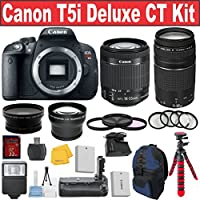 Canon EOS Rebel T5i Digital SLR Camera + Canon 18-55 STM Lens + Canon 75-300 III Zoom Lens + .43x and 2.2x Auxiliary Len - International Version At A Glance Review Image