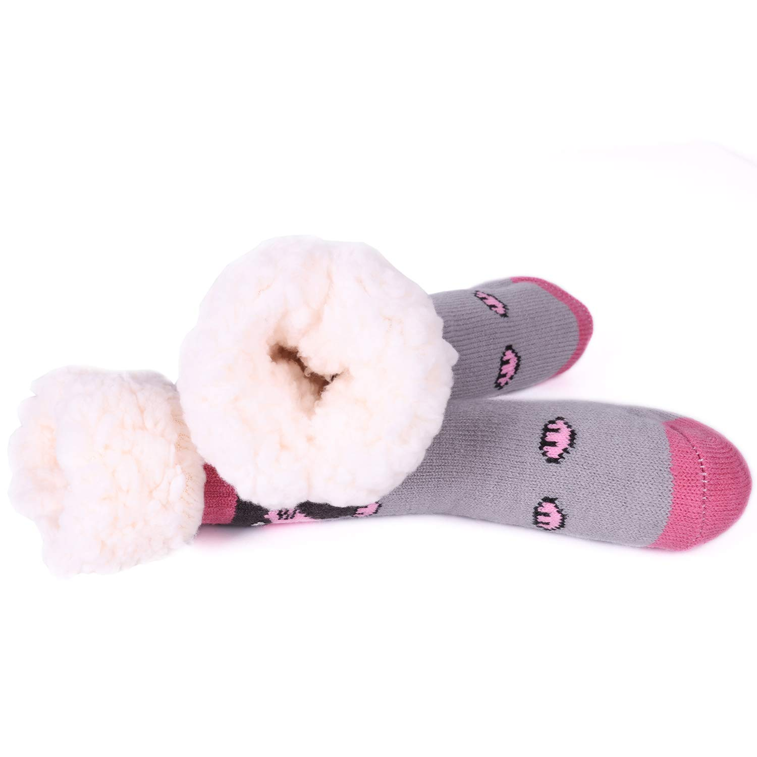 Toddler Baby Girls Fuzzy Slipper Socks Fleece Lined Cozy Winter Cute Funny Thermal Warm Home Socks Non Skid Booties