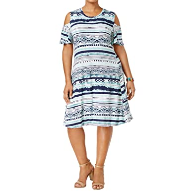 609a9a92f86f0 Style & Co. Womens Plus Cold-Shoulder Pull-On T-Shirt Dress Blue 0X ...