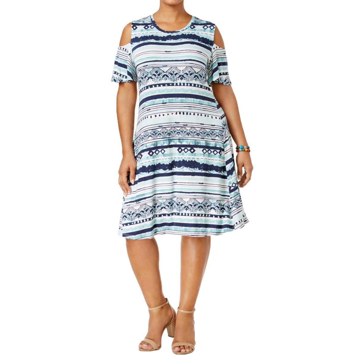 Style & Co. Plus Size Printed Cold-Shoulder Swing Dress in Global Dye Print (2X)